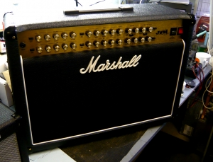 Amplifier repairs on Marshall JVM combo: on test in workshop