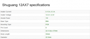 12AX7 valve Shuguang (ECC83) specifications