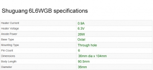 Shuguang 6L6WGB valve specifications