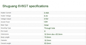 Shuguang 6V6GT valve specifications