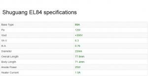 Shuguang EL84 valve specifications