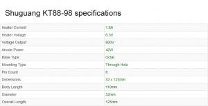 Shuguang KT88-98 valve specifications