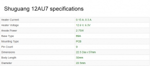 12AU7 valve Shuguang specifications