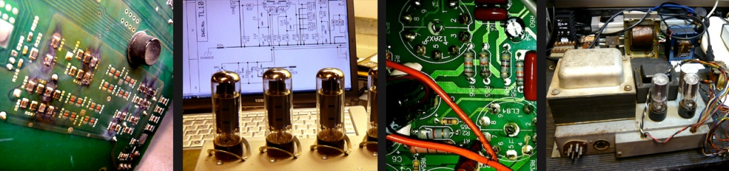 Crown power amp circuit board damage, valves during testing, underside of valve bases & small valve amplifier repairs